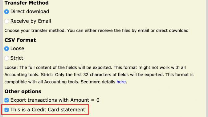 Credit Card Statement screenshot